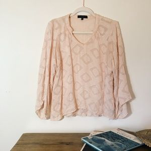 Sanctuary Blush Bohemian Blouse with Bell Sleeve